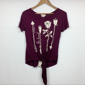 Moonchild Arrows and Roses Be Loved Tie Front Tee